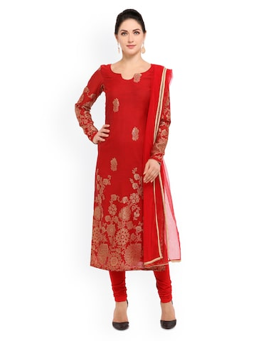 Inddus Red Banarasi Cotton Blend Unstitched Dress Material at myntra