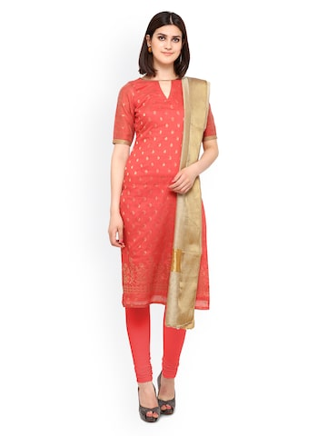 Inddus Coral Red Banarasi Cotton Blend Unstitched Dress Material at myntra