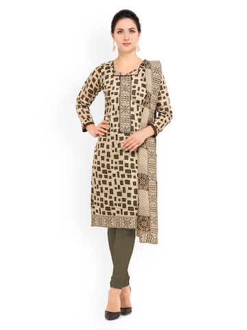 Inddus Beige & Olive Green Cotton Blend Unstitched Dress Material at myntra