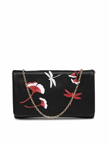 ToniQ Black Embroidered Clutch at myntra