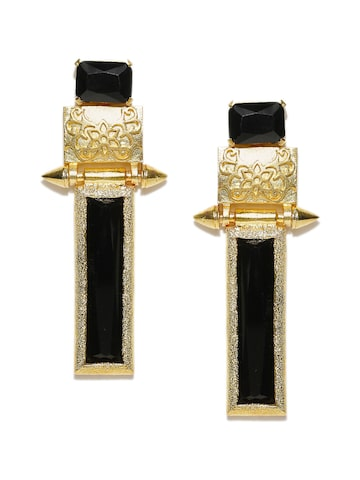 Blueberry Gold-Toned & Black Handcrafted Geometric Drop Earrings at myntra