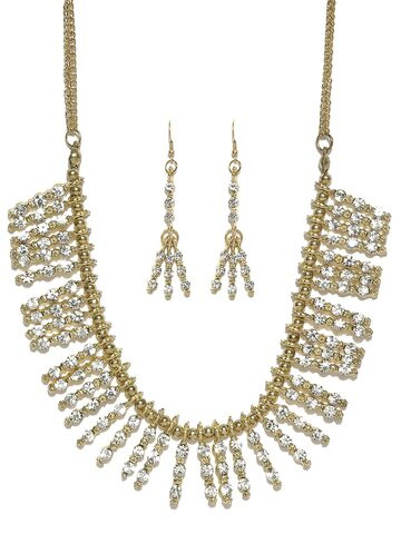 Blueberry Gold-Toned Stone-Studded Jewellery Set at myntra