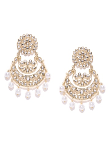 Blueberry Off-White Gold-Plated Kundan Stone-Studded Handcrafted Chandbalis at myntra