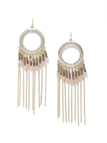 Blueberry Gold-Toned Circular Drop Earrings at myntra