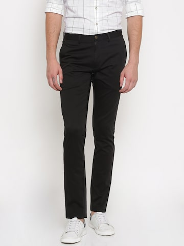 Theme Men Black Ultra Slim Fit Solid Regular Trousers Theme Trousers at myntra