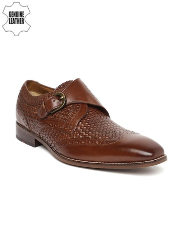 Ruosh Wedding Men Tan Brown Textured Genuine Leather Monks at myntra