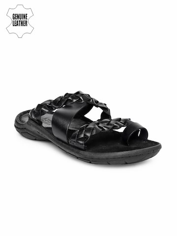 Ruosh Smart Casual Men Black Genuine Leather Sandals at myntra