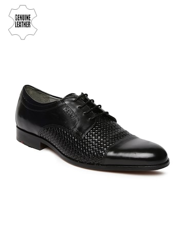 Ruosh Men Black Basketweave Genuine Leather Derby Shoes at myntra