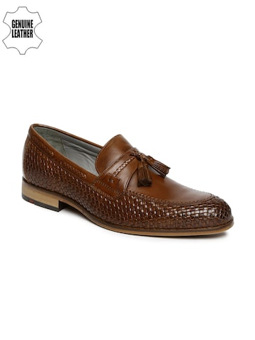 Ruosh Work Men Brown Genuine Leather Textured Formal Slip-Ons at myntra