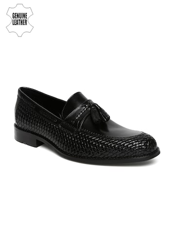 Ruosh Work Men Black Rare Leather Textured Formal Slip-Ons at myntra