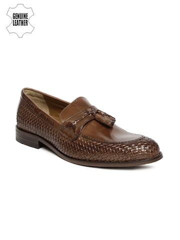Ruosh Work Men Brown Rare Leather Textured Formal Slip-Ons at myntra