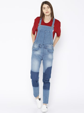 Roadster Blue Washed Denim Dungarees Roadster Dungarees at myntra