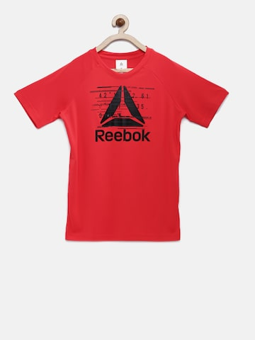 Reebok Boys Red Printed ES PES TEE Round Neck T-shirt Reebok Tshirts at myntra