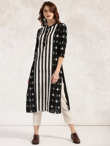 Anouk Women Black & White Printed Straight Kurta at myntra