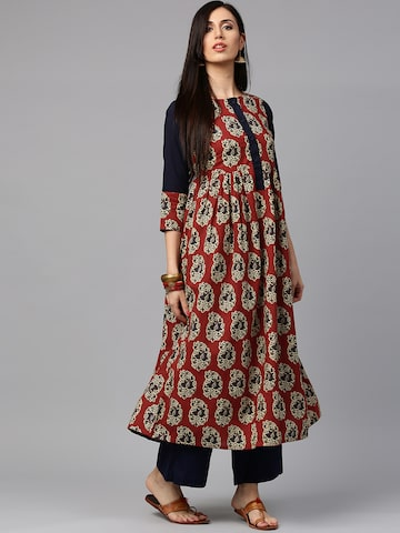 Jaipur Kurti Women Rust Red & Navy Printed Anarkali Kurta at myntra