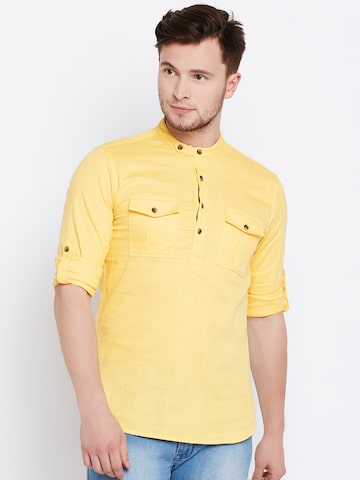 The Indian Garage Co Men Yellow Solid Straight Kurta The Indian Garage Co Kurtas at myntra