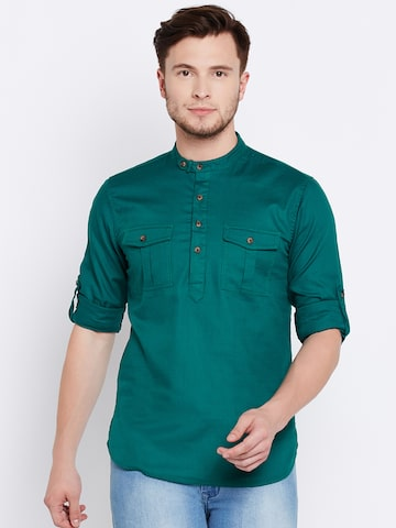 The Indian Garage Co Men Green Solid Straight Kurta The Indian Garage Co Kurtas at myntra