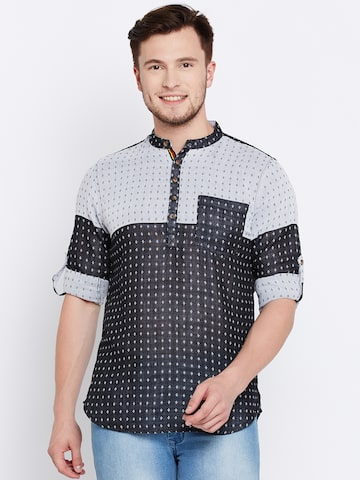 The Indian Garage Co Men Charcoal Grey & Off-White Woven Design Straight Kurta The Indian Garage Co Kurtas at myntra