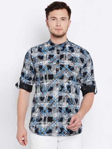 The Indian Garage Co Men Grey & Black Checked Straight Kurta The Indian Garage Co Kurtas at myntra