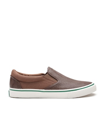 United Colors of Benetton Men Brown Snakeskin Textured Slip-Ons at myntra