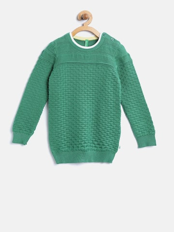 United Colors of Benetton Boys Green Patterned Pullover at myntra