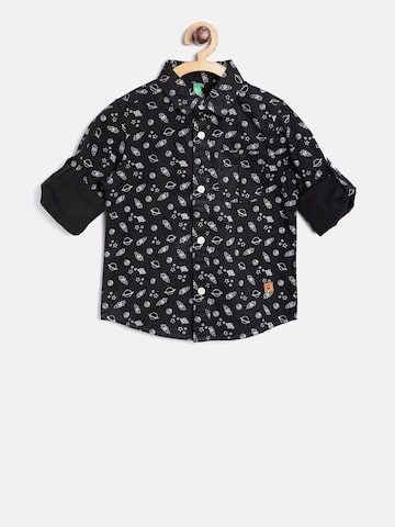 United Colors of Benetton Boys Black Solar System Print Casual Shirt at myntra