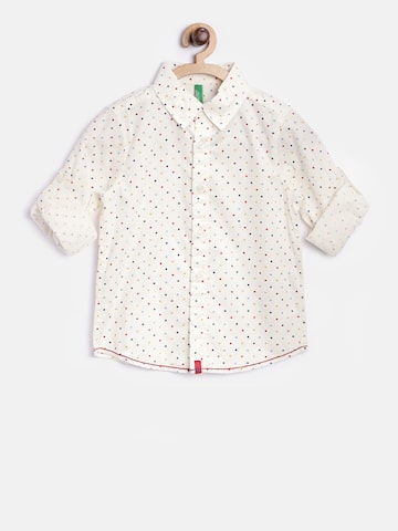 United Colors of Benetton Boys Cream-Coloured Dot Print Casual Shirt at myntra