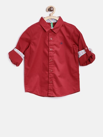 United Colors of Benetton Boys Red Solid Casual Shirt at myntra