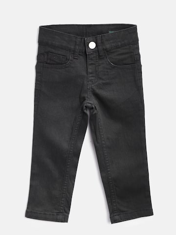 United Colors of Benetton Boys Black Slim Fit Mid-Rise Clean Look Stretchable Jeans at myntra