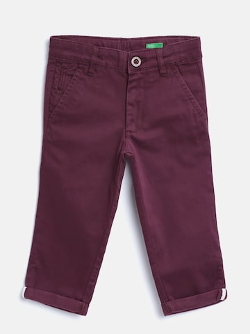United Colors of Benetton Boys Burgundy Solid Trousers United Colors of Benetton Trousers at myntra
