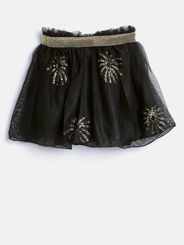 United Colors of Benetton Girls Black Sequinned Net Flared Skirt at myntra