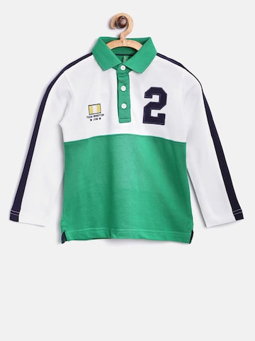 United Colors of Benetton Boys Green Colourblocked Polo Collar T-shirt at myntra