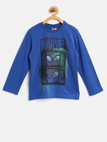 United Colors of Benetton Boys Blue Marvel Print T-shirt at myntra