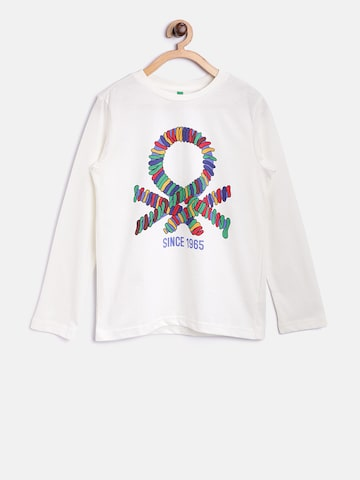 United Colors of Benetton Boys Off-White Printed Round Neck T-shirt at myntra