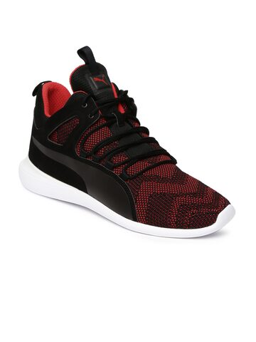Puma Men Black & Red SF Evo Cat Mid-Top Sneakers at myntra