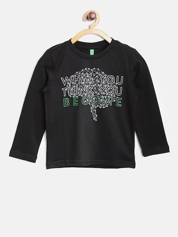 United Colors of Benetton Boys Black Printed Round Neck T-shirt at myntra