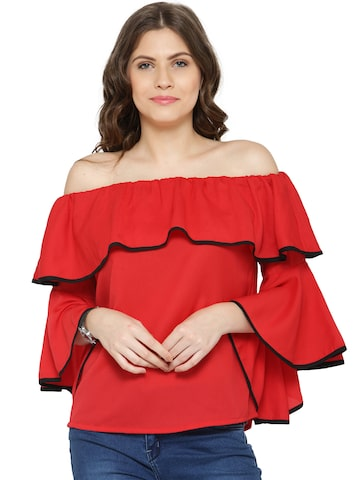 plusS Women Red Solid Bardot Top at myntra