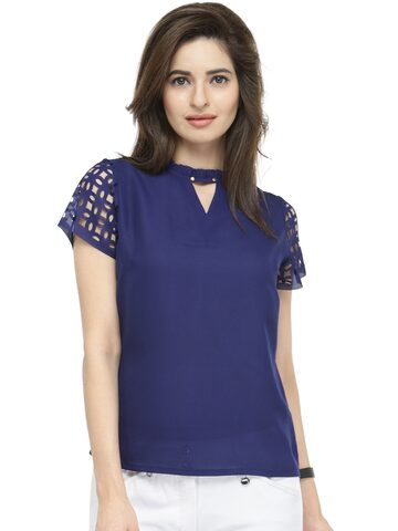 plusS Women Navy Blue Solid Top at myntra