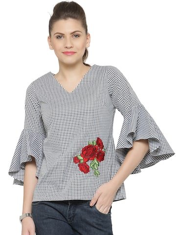 plusS Women Black Checked Top at myntra
