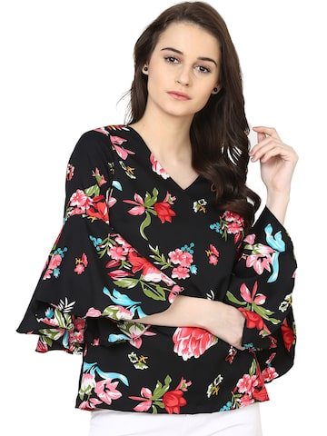 plusS Women Black Printed Top at myntra