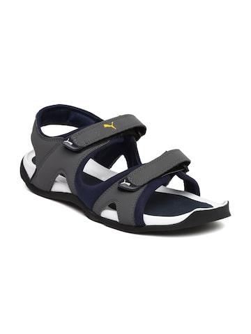 Puma Men Grey & Navy Jimmy Sports Sandals at myntra