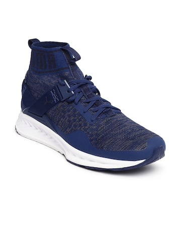 Puma Unisex Navy Blue Mesh Ignite evoKNIT Mid-Top Running Shoes at myntra