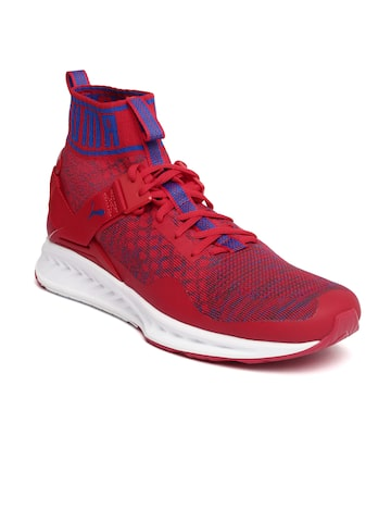 Puma Unisex Red Mesh Ignite evoKNIT Mid-Top Running Shoes at myntra