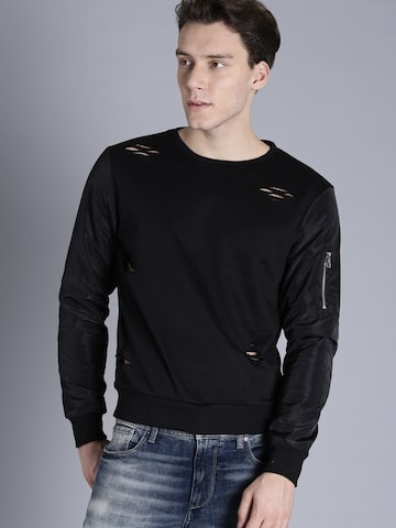 Kook N Keech Men Black Solid Sweatshirt Kook N Keech Sweatshirts at myntra