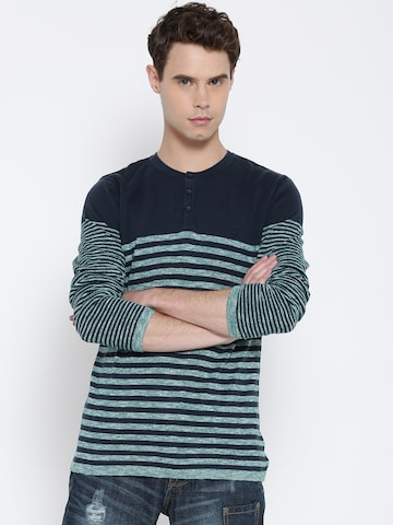 United Colors of Benetton Men Navy Blue & Green Striped Pullover at myntra