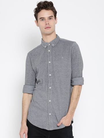 United Colors of Benetton Men Grey Slim Fit Solid Casual Shirt at myntra