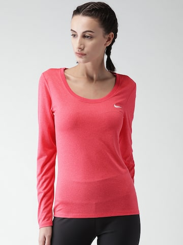 Nike Women Pink Solid AS W NK DRY TEE SCOOP LGD LS T-shirt at myntra