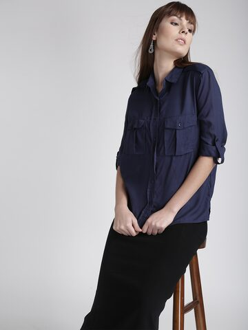 Chemistry Women Navy Solid Casual Shirt Chemistry Shirts at myntra
