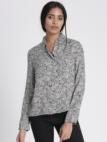 Chemistry Women Grey & Black Regular Fit Printed Casual Shirt Chemistry Shirts at myntra