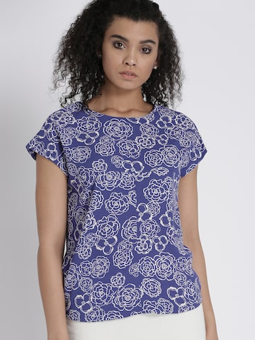 Chemistry Women Blue & White Printed Top Chemistry Tops at myntra